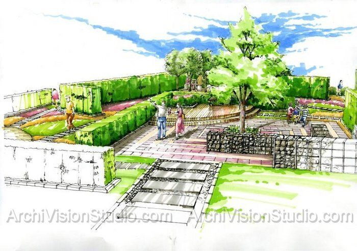Prismacolor pencils 120 pinterest landscaping for Garden design sketches