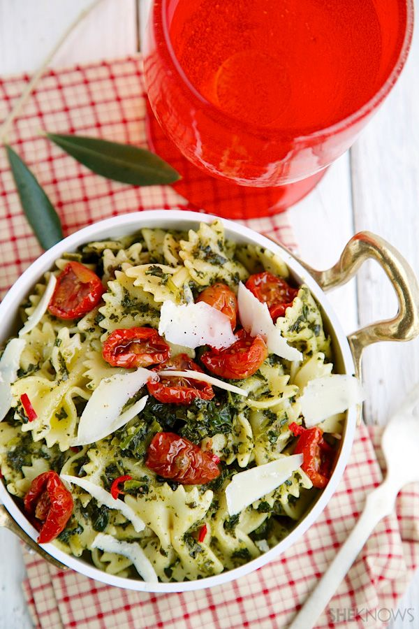 Garlic kale pasta recipe. I like everything in this recipe except the anchovies.