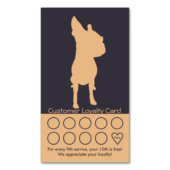 Dog Grooming Business Card Loyalty Card. This is a fully customizable business card and available on several paper types for your needs. You can upload your own image or use the image as is. Just click this template to get started!