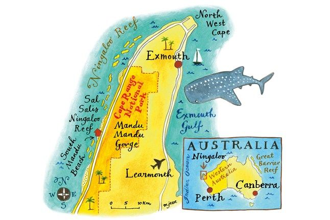 Map of Ningaloo Reef area, Australia