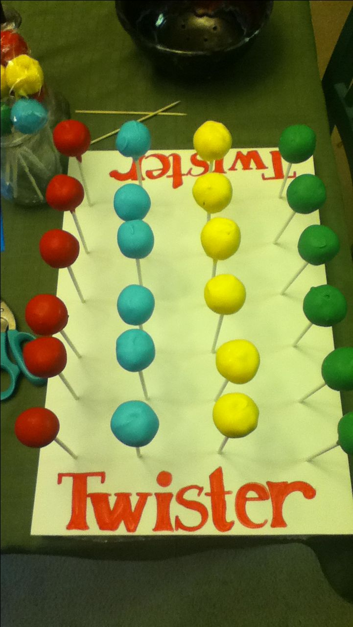 Twister cake pops! Perfect for game night- might be a great way to showcase flowers or bracelets.