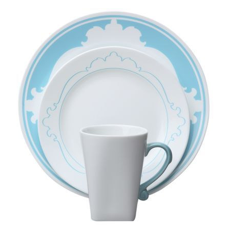 """#Corelle B-Frames 16-Pc Dinnerware Set, Bleu - leu. It's French for """"blue,"""" but don't let this bleu dinnerware set fool you. It may look high society, but it's designed for everyday use… and everyone's budgets. An outlined motif graces the rim of the bowl, with a matching silhouette on the plate's rim, and a sculpted blue handle on the mug. // click to buy"""