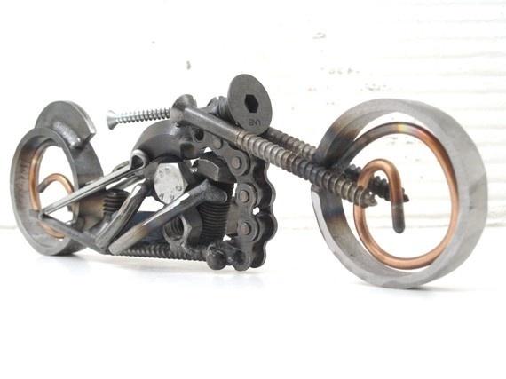 Metal motorcycle sculpture