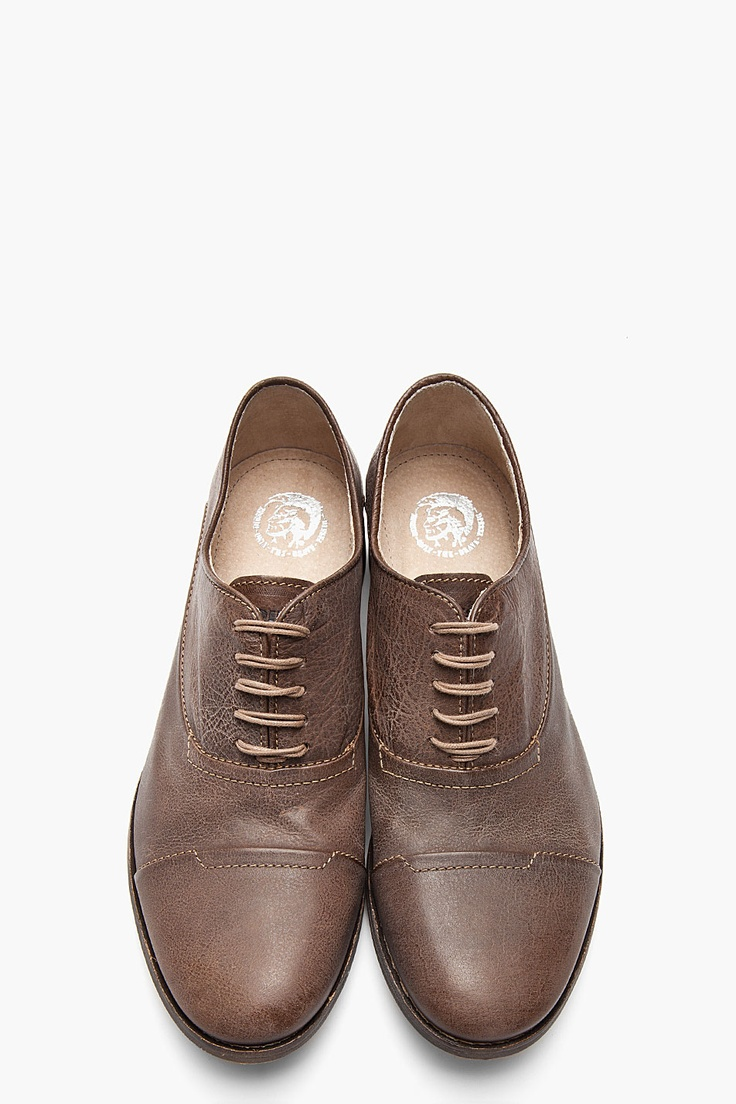 DIESEL Brown Faded Leather Chrom Oxfords