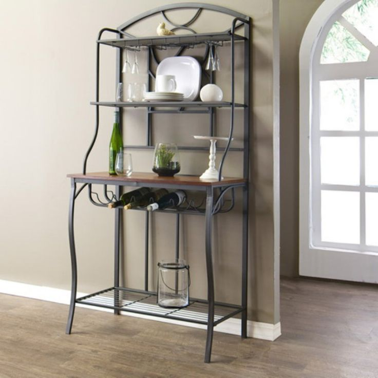 Baxton Studio Corsica Wood and Metal Transitional Bakers Rack - WR-R115 KC