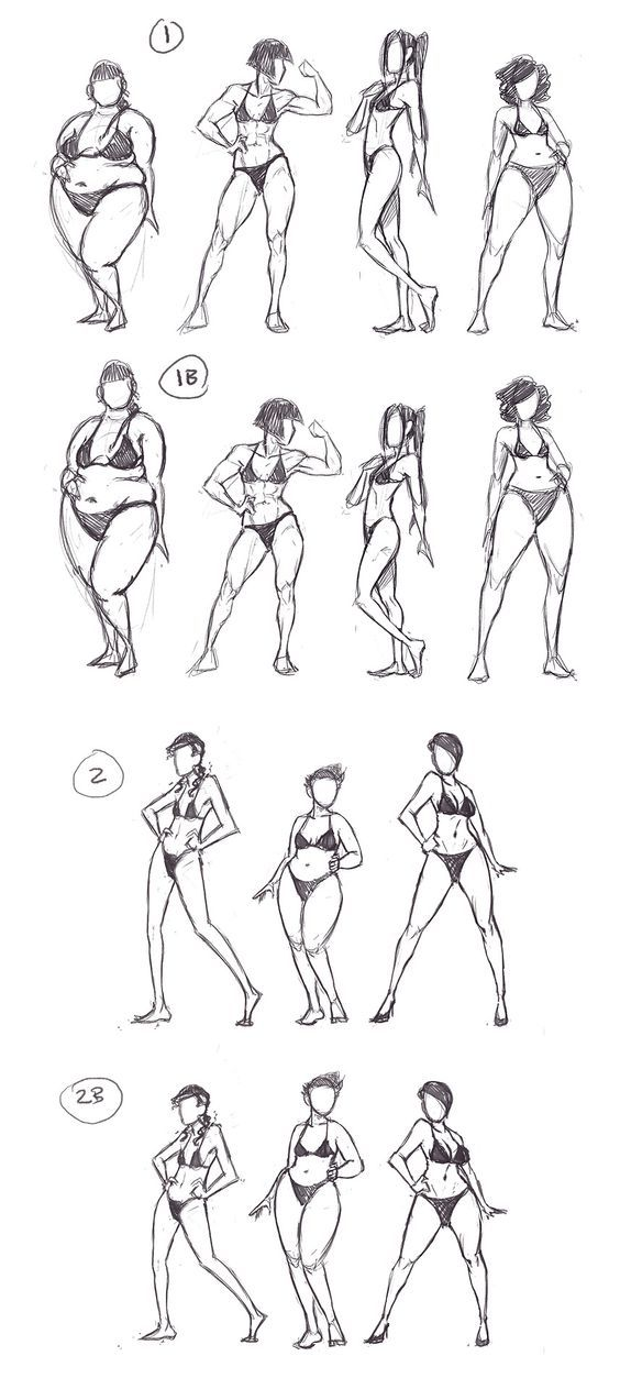 Today's practice is devoted to body variation. A plethora of well-written essays exist examining the lack of variety in body types in comics, especially concerning female characters. I have noticed that a great many artists tend to develop a personal ideal body type, and use this for all the women they draw.: