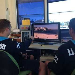 MAXI & HARRISON WATCHING BONDI RESCUE ON THE NEW TV