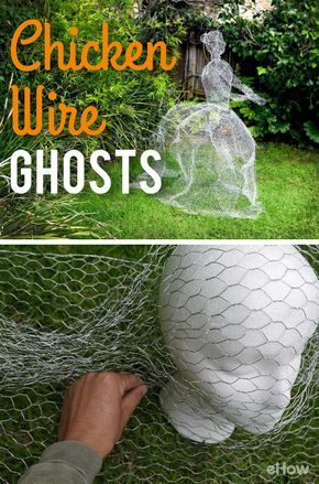 How to make chicken wire ghosts deco noel exterieur fil for Decoration exterieur halloween