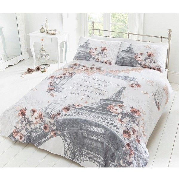 parisian rose duvet cover set 29 liked on polyvore featuring home bed