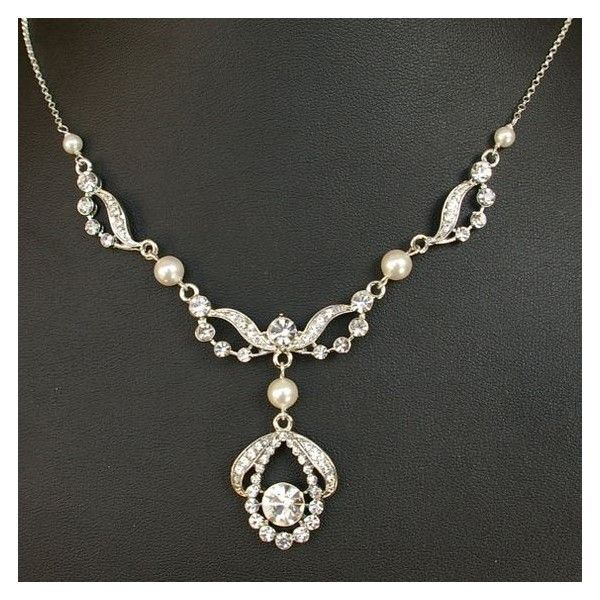 Art Deco Style Wedding Bridal Necklace, Vintage Style Bridal Jewelry,... ❤ liked on Polyvore featuring jewelry, necklaces, bridal necklace, vintage style jewellery, vintage style necklaces, sterling silver necklace and bridal jewelry necklace