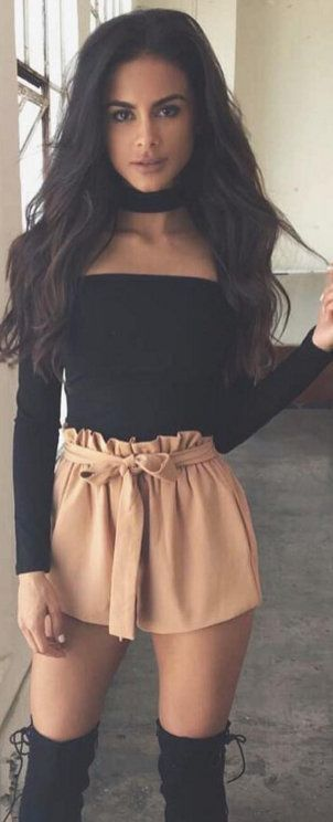 Camel shorts,high boots,black top sleeve