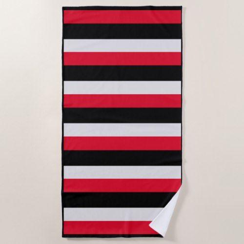 Bold Red Black Gray Striped Beach Towel Zazzle Com Beach Towel