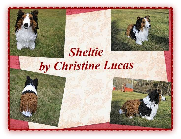 """Sheltie by Christine Lucas - This pattern is available for $3.50. Since Sheltie's and Collie's are so similar looking, this pattern can be used to make either. The finished dog has the coloring and attributes of a realistic Shetland Sheepdog or Collie. He measures 14""""L x 10.5""""H x 5""""W and is made from my own original pattern."""