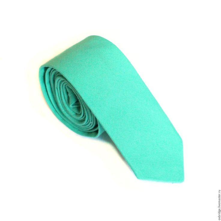 Купить Галстук классический мятного цвета из хлопка / Галстук мятный - галстук