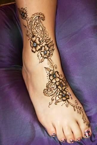 Henna Design Foot Tattoos - cute-tattoo.com