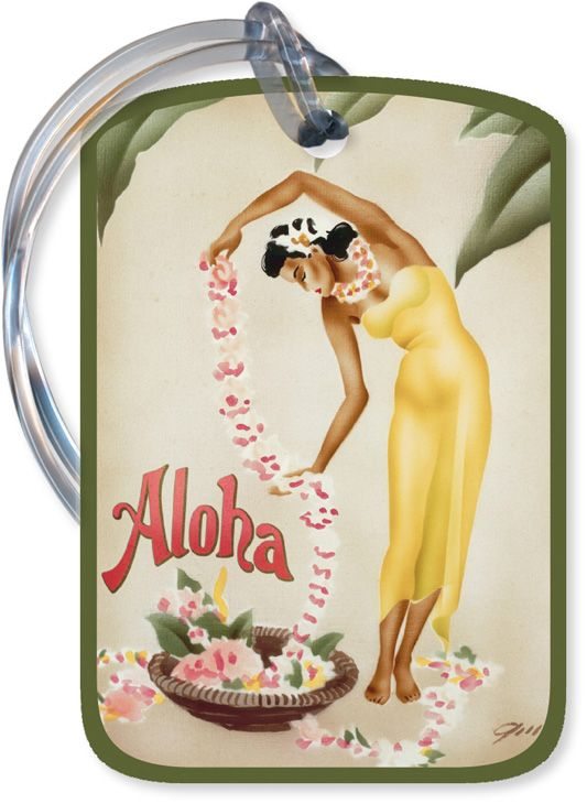 vintage art deco hawaiian luggage tag hula girl hawaii. Black Bedroom Furniture Sets. Home Design Ideas