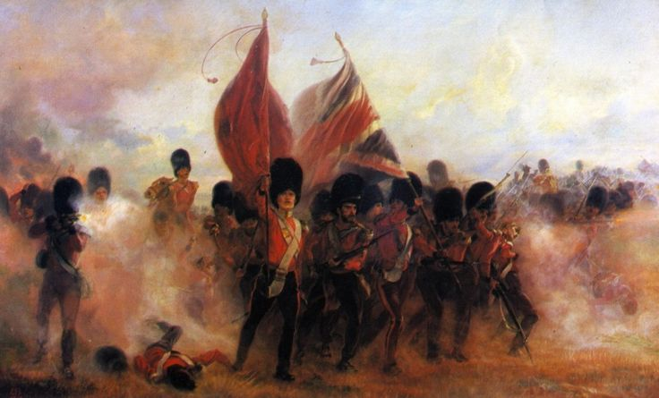 The Colours of the Scots Guards at the Battle of the Alma, Crimean War, 20th September 1854: picture by Lady Butler.  To buy a print of this picture click on this caption.