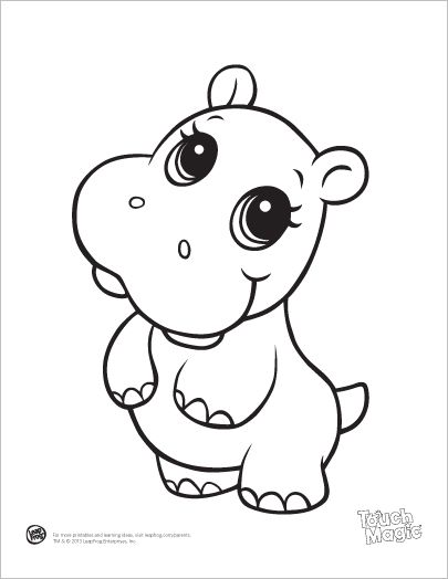 Learning Friends Hippo baby animal coloring printable from LeapFrog. The Learning Friends prepare kids for school in a playful way! When children color, they strengthen the small muscles in their hands that help them learn to write. Encourage children to color by providing lots of access to coloring pages and crayons.