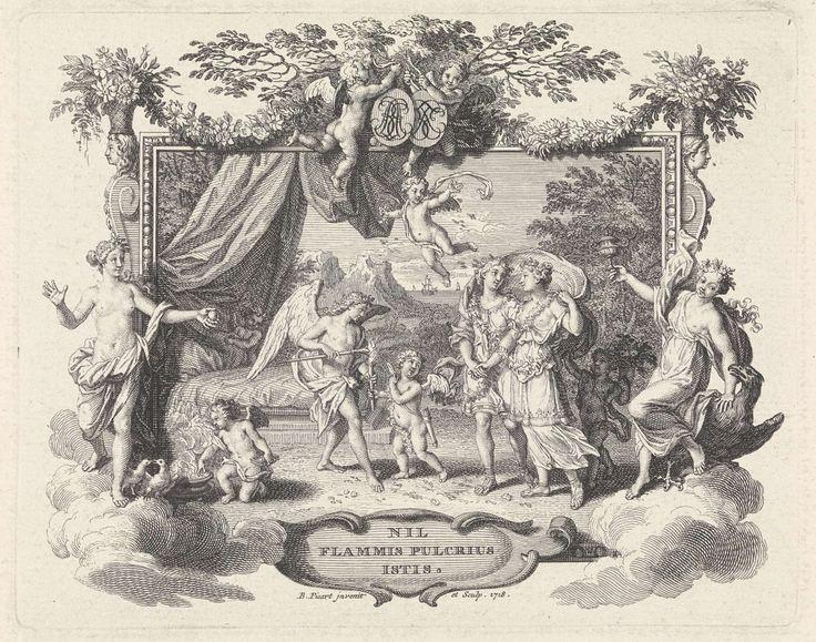 Bernard Picart | Echtpaar loopt toe op Hymen en het huwelijksbed, Bernard Picart, 1718 | Allegorische voorstelling ter gelegenheid van een huwelijk. Het echtpaar loopt, begeleidt door Amor, naar de huwelijksgod Hymen en het huwelijksbed. Links biedt Venus de bruid een gouden appel aan en rechts biedt Hebe, de godin van de jeugd, haar een vat met nectar aan. De voorstelling is gevat in een ornamentele lijst. De lijst wordt bekroond door twee putti met de initialen van de echtelieden. Midden…