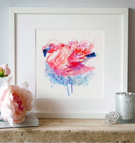 Flamingo on the Water Wall art Watercolor painting by Artsyndrome