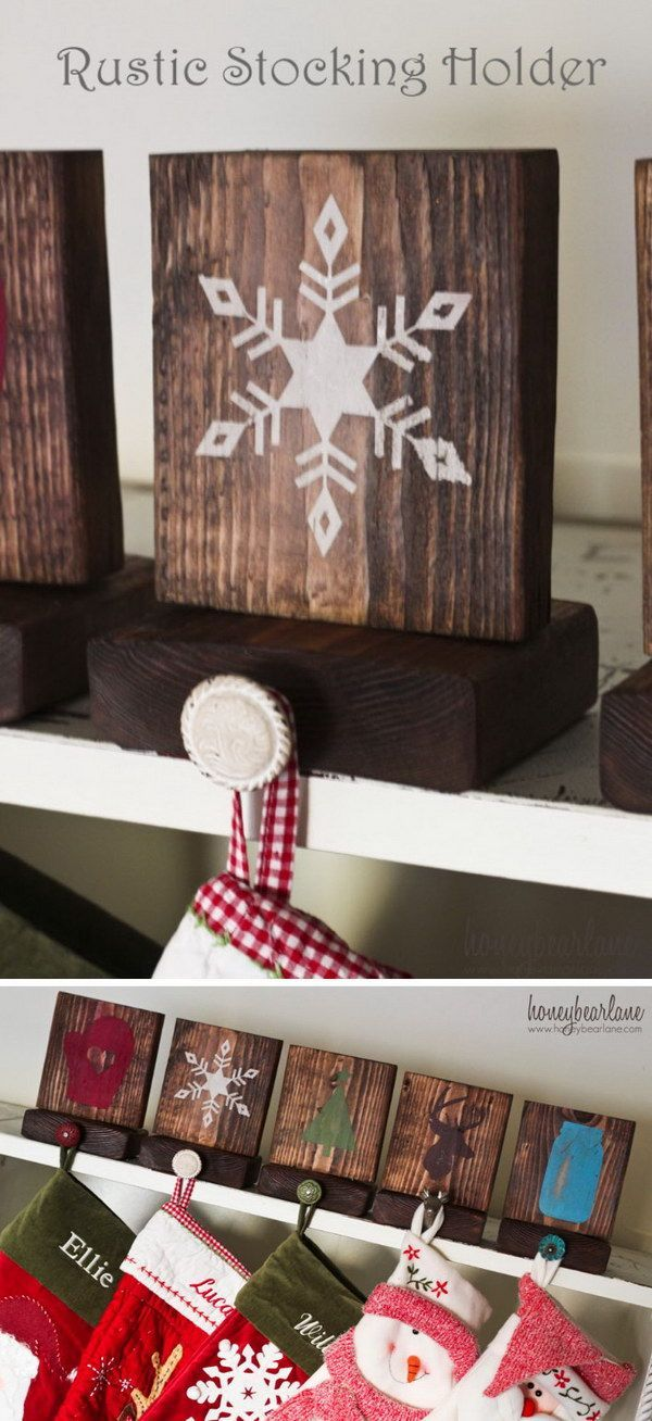 Rustic Stocking Holders. Put on ledge as stocking holders