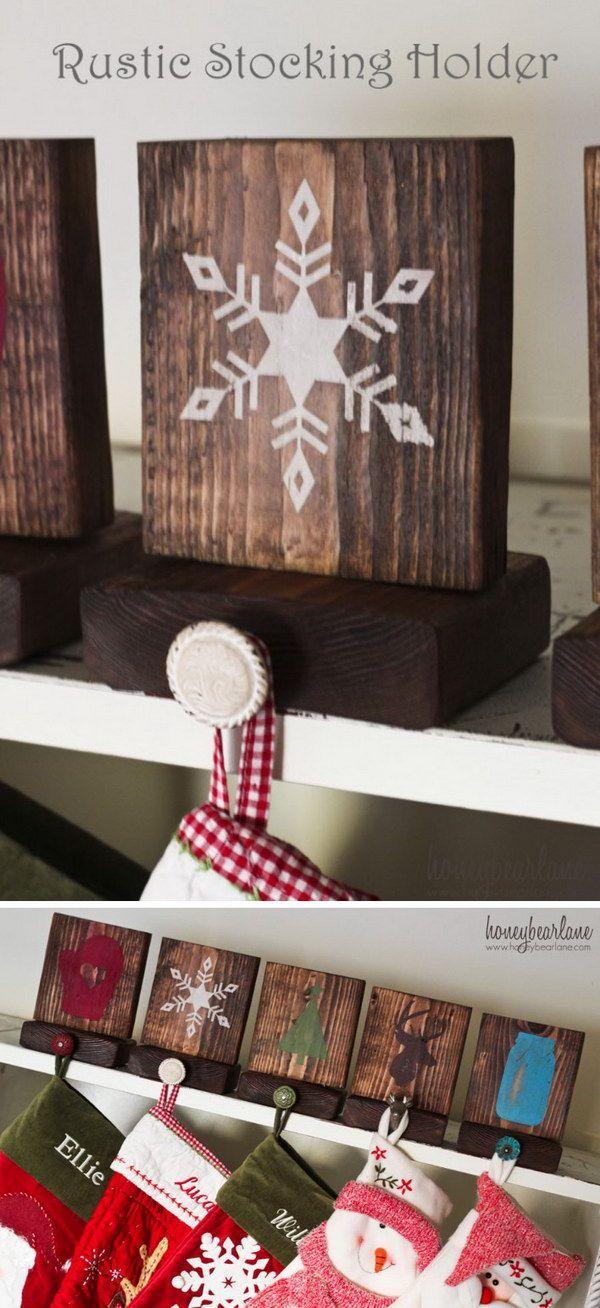 Rustic Stocking Holders. Put on ledge as stocking holders