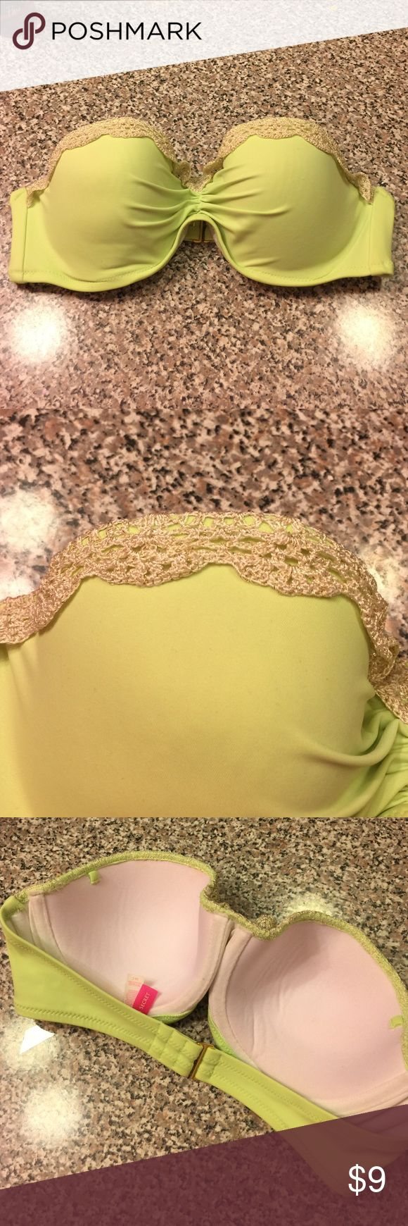 VS swim top Green swim top strapless style // tan crochet detail // 36C // straps are not included Victoria's Secret Swim Bikinis