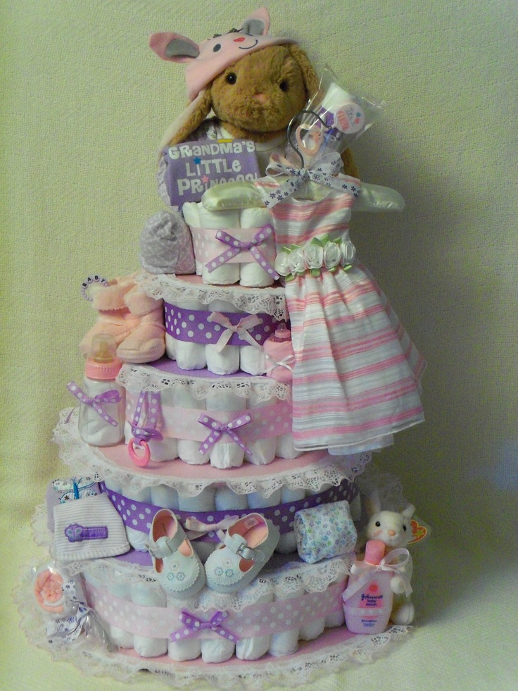 baby girl diaper cakes | Baby Boy or Girl 5 tier Diaper cake - an adorable baby shower gift ...