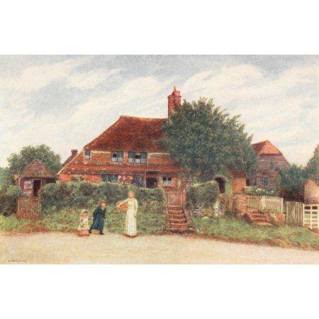 Kate Greenaway 1905 Cottages Canvas Art - Kate Greenaway (24 x 36)