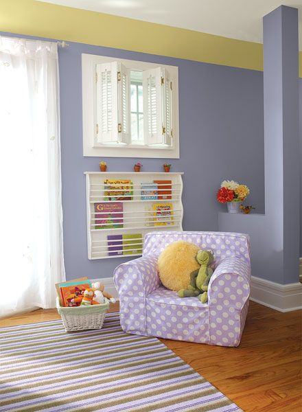 BENJAMIN MOORE PAINT - SWEET & STYLISH PURPLE KIDS ROOM - YUKON SKY 1439 WALLS, YELLOW LOTUS 2021-50 SOFFIT, PAPER MACHE AF-25 CEILING