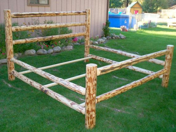 full size complete rustic corral style pine log bed frame free shipping