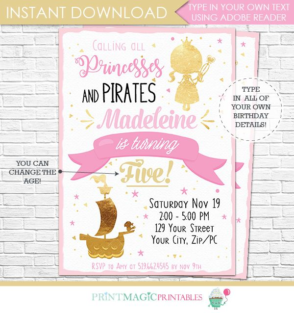 134 best birthday party invitations images on pinterest birthday pink and gold princess pirate birthday invitation stopboris Images