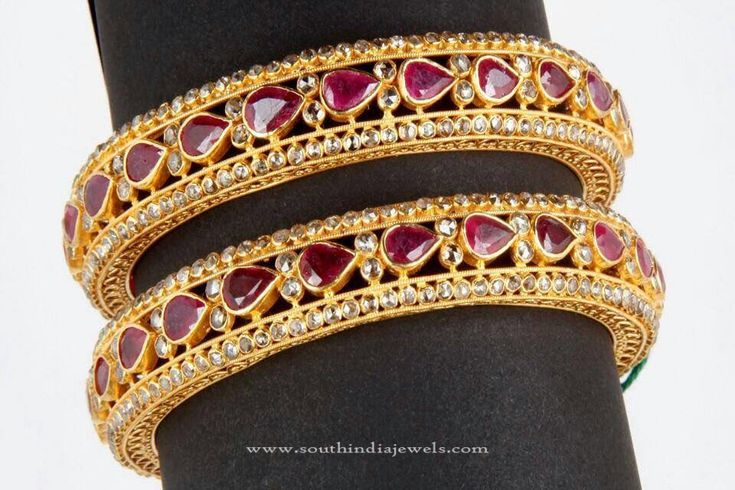 Big Gold Ruby Bangles, Gold Bangles with White Stones and Rubies, Indian Ruby Bangle Designs.