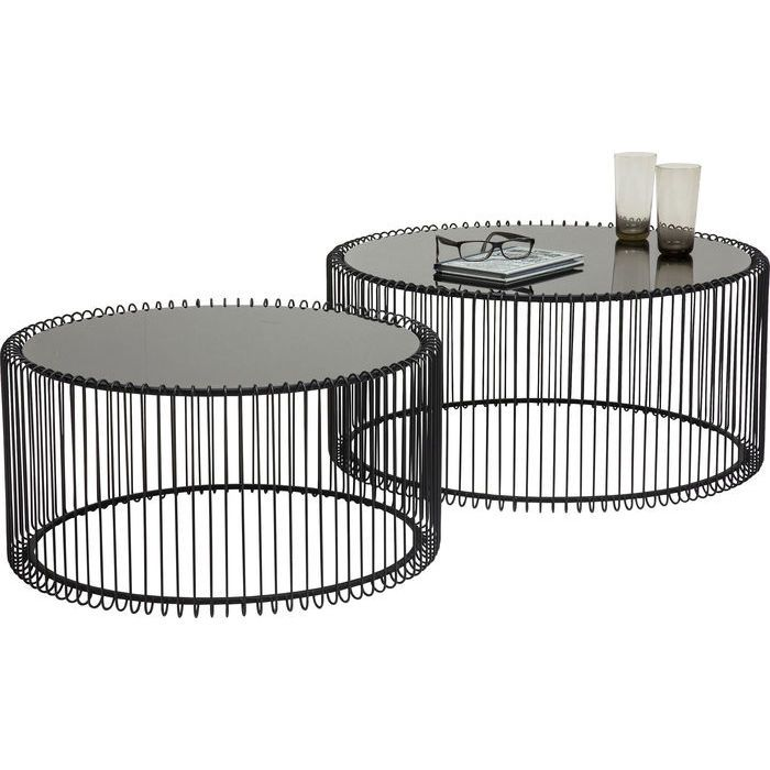 """Кофейные столики """"Сетка"""" (Wire), черные, 2 шт. в наборе - KARE Design"""