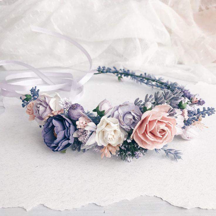 Купить Венок на голову Lavender and flowers - лавандовый, Лавандовая свадьба, свадьба в стиле прованс