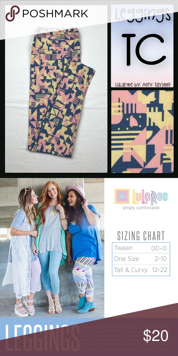 NWT LuLaRoe Leggings - Geometric - TC Buttery soft LuLaRoe Leggings with light pink and yellow-ish cream geometric print on dusty blue background background. BNWT! Size TC (fits sizes 12-22 per LLR sizing). Please let me know if you would like tags in your package as LLR does not attach tags to their leggings and only supplies one tag per two pairs of leggings. Thanks!   Ex-retailer just trying to sell my remaining inventory and recoup some of my investment. Smoke-free, pet-friendly home…