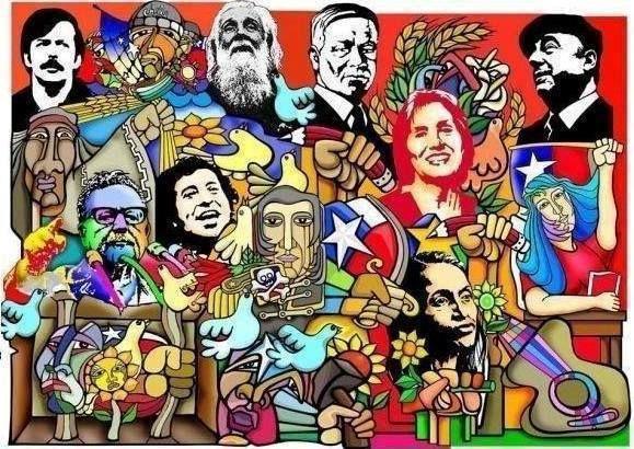 """Linda ilustración de la Brigada Ramona Parra, compartida de """"Tres y Cuatro Alamos Parque Por la Memoria""""."""