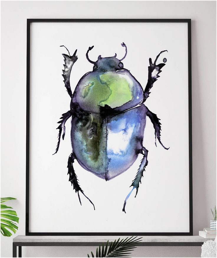 £12.99 Dung beetle painting watercolour ink iridescent Wall Art Bug Halloween Insect Goth Steam Punk Illustration Print A4 A3 A2 A1 ANY SIZE by LeonaBethillustrator on Etsy https://www.etsy.com/uk/listing/548616284/dung-beetle-painting-watercolour-ink