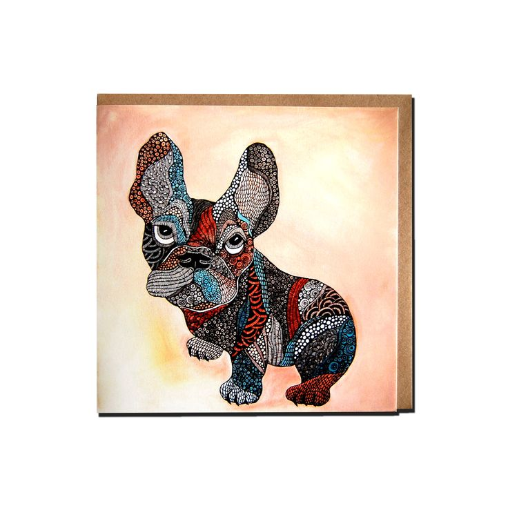 Greenting card French bulldog  by Anna Strøm design of Norway AS www.fabelskog.no