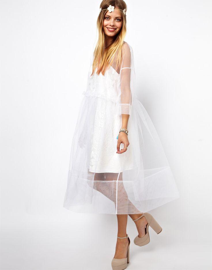 Изображение 4 из Платье с присборенной юбкой, вышивкой и длинными рукавами ASOS MollyGoddard