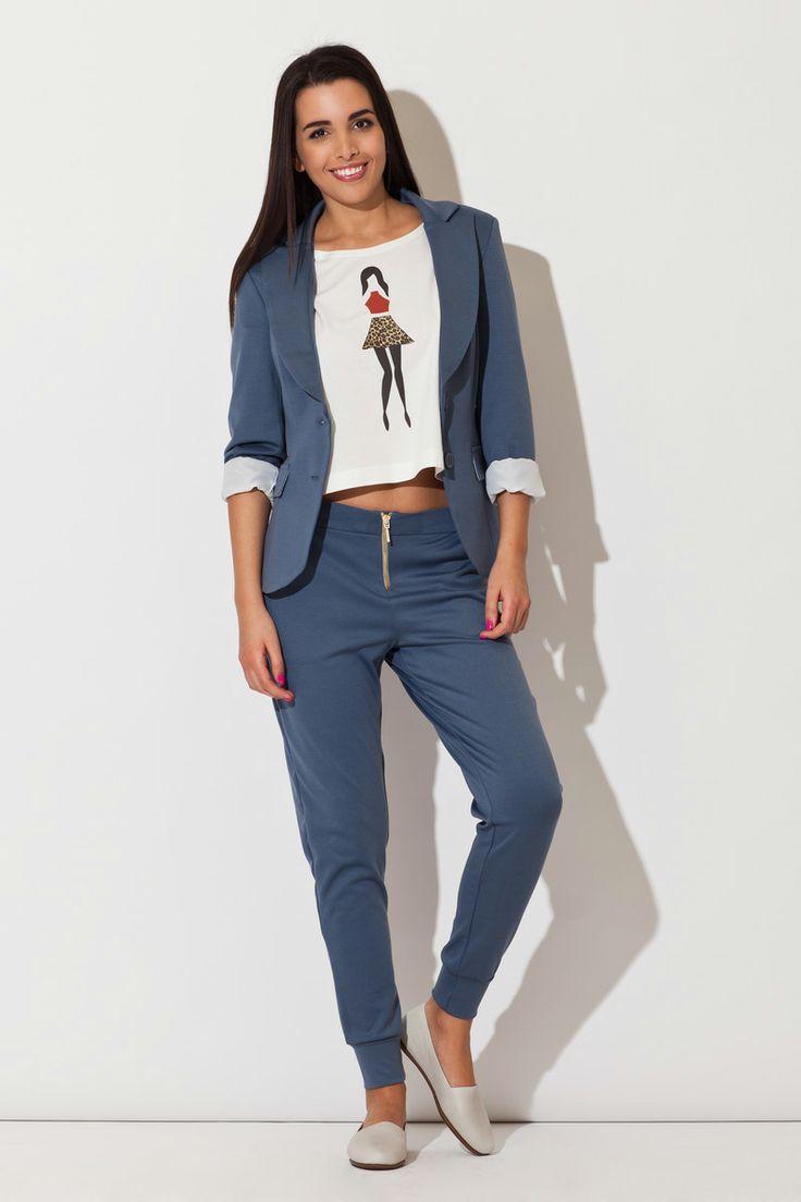 Sportowa marynarka boyfriend niebieska, Elegancka moda damska - sklep internetowy fashionata.pl