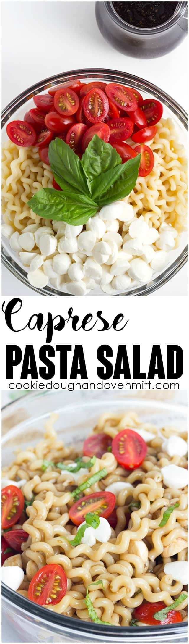 Caprese Pasta Salad - Pasta salad fanatics, you have to try out this one! There's a balsamic vinaigrette dressing, long pasta spirals, fresh mozzarella pearls, halved cherry tomatoes, and ribbons of basil! It's the perfect summer salad for picnics! via @mmmirnanda