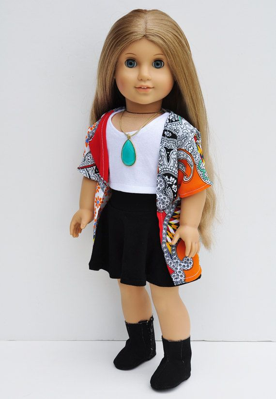 American Girl Doll Clothes - Kimono, Wrap, Red & Orange Paisley Patchwork, Top