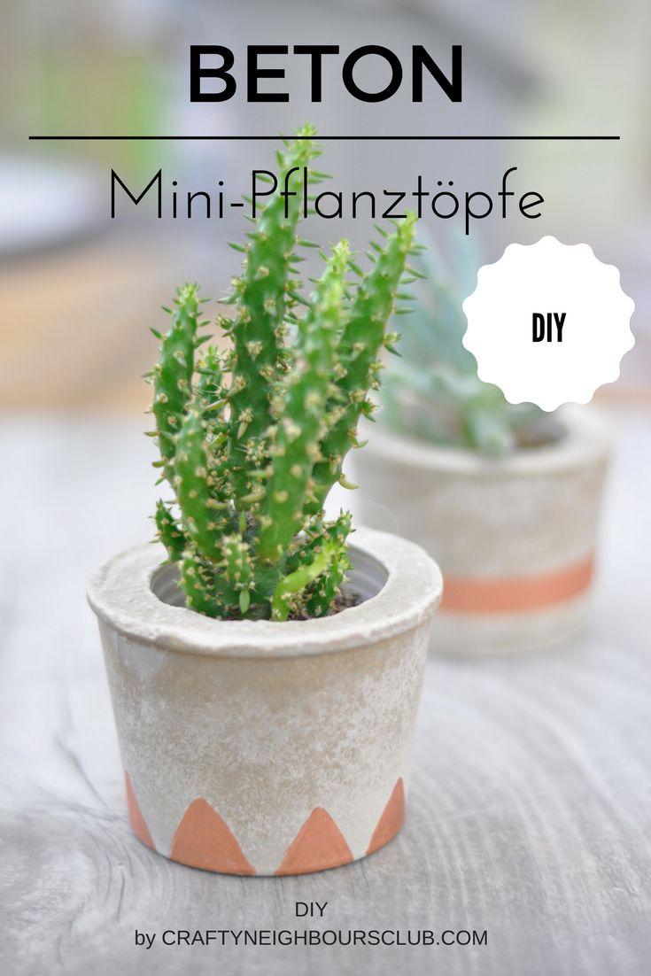 DIY für selbstgemachte Pflanztöpfe aus Beton. Einfach und schnell ein Mini-Urban-Jungle für zuhause. Anleitung auf Craftyneighboursclub.com
