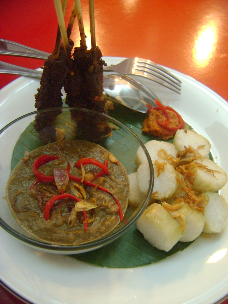 """Sate Lontong Ayam: this one is made from chicken and peanut sauce with the sprinkling fried onions. u can call this """"Sate Lontong Ayam"""".  #ultimatethanksgiving"""