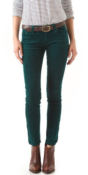 7 FOR ALL MANKIND  The Skinny Corduroy Pants in Dark Green
