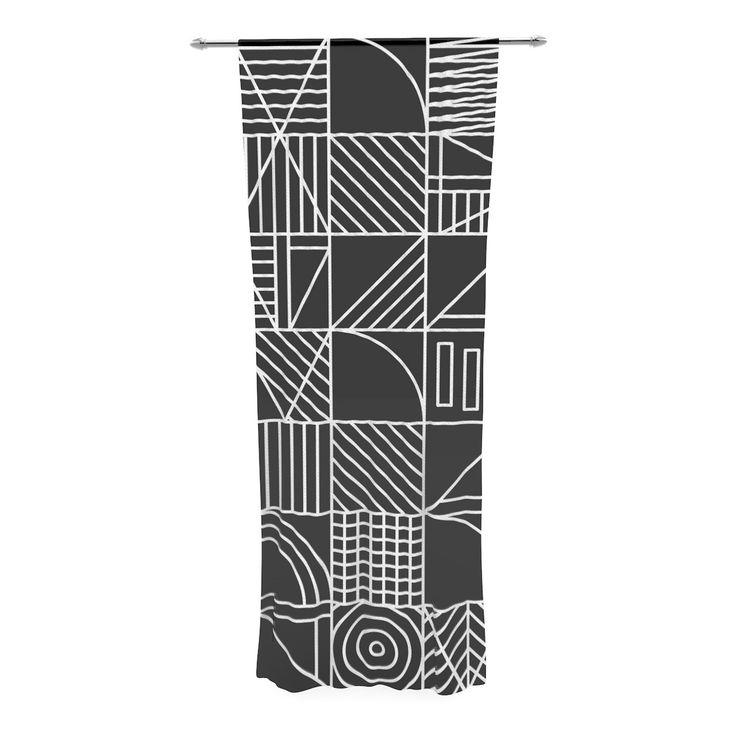 "Fimbis ""Whack"" Black White Decorative Sheer Curtain"
