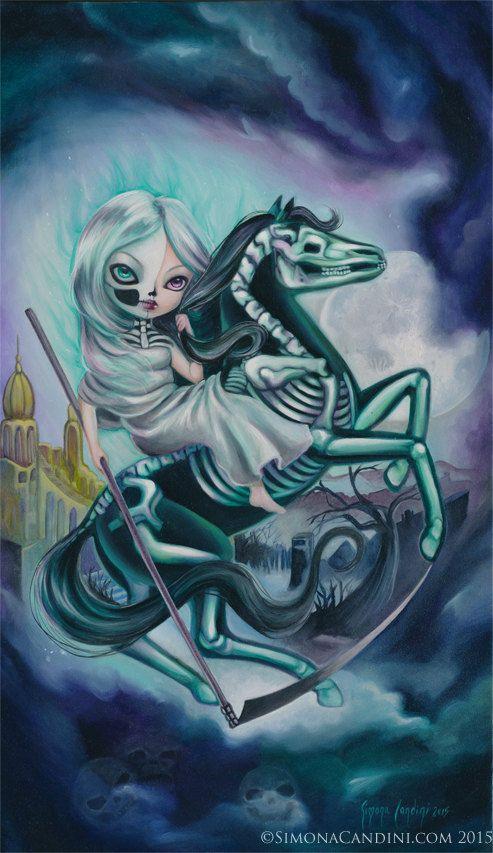 Les quatre cavaliers : Mort Simona Candini signé impression Fairytale fée fantaisie grands yeux Pop surréaliste Lowbrow Art gothique Goth cheval Dark Angel