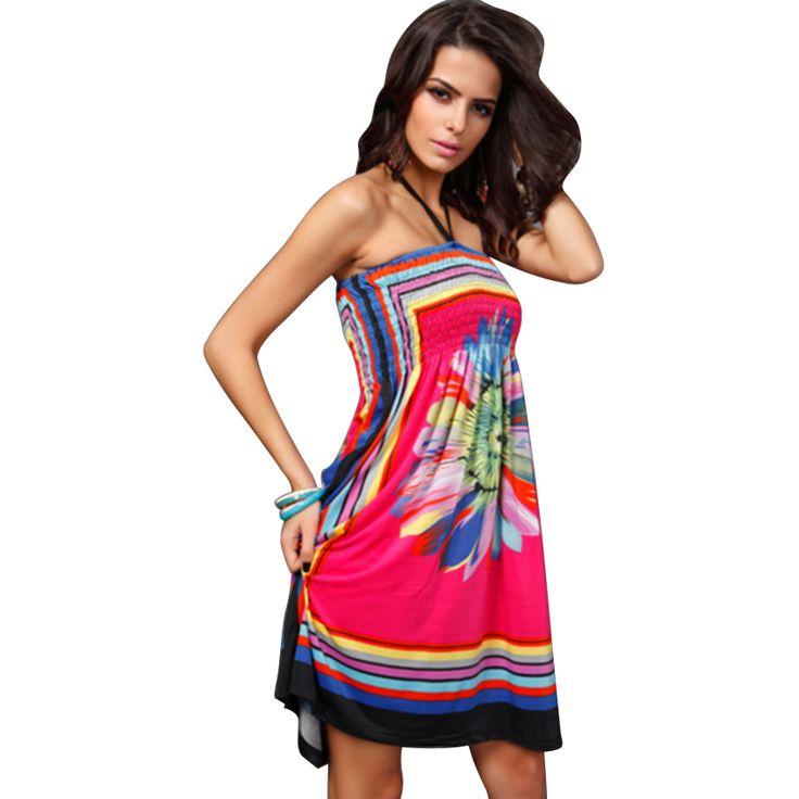 Enthousiaste Gypsy Tribal Stijl Zomer Strand Jurken 4 Kleur Kiezen Sexy Halter…