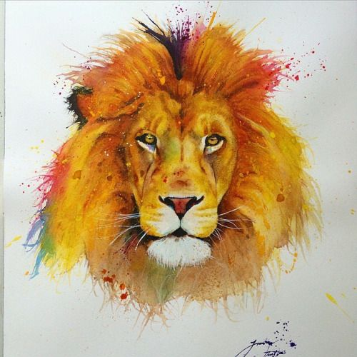 Painful Pleasures • Watercolor by @jknightart #watercolor #lion...